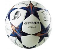 Мяч футбольный Atemi STELLAR, PU, бел/син/оранж., р.5, Thermo mould (б/швов)