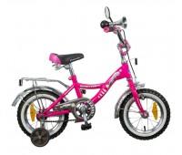 """Велосипед NOVATRACK 12"""",S, Багира, розовый,тормоз 1 руч. нож.,крылья и багажник хромир., гудок и зер"""