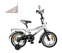 """Велосипед NOVATRACK 12"""",R, Такси, черн/бел,тормоз 1 руч. нож.,крылья и багаж. хромир.,гудок и зеркал"""