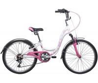 """Велосипед NOVATRACK 24"""", BUTTERFLY, сталь.рама 13"""", белый-фиолетовый, 6-скор"""