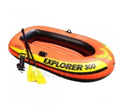 58332 Надувная лодка EXPLORER-300-Set, трехместная INTEX