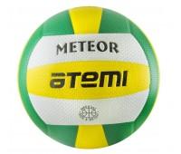 Мяч в/б ATEMI METEOR, синт. кожа ПВХ, 18пан.,  зел.-жёлт.-бел.