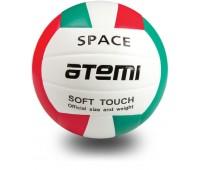 Мяч в/б ATEMI SPACE, синт. кожа PU Soft,  зел/бел/красн
