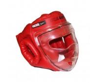 гп005213 Шлем-маска для рукопашного боя Леко красная ПРО  разм.L