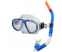 Набор маска и трубка MS-1359S40 Силикон (Blue)