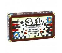 Игра 3 в 1(шашки, шахматы,нарды магнитные)ТХ11224