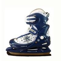 Коньки раздвижные/ледовые PW-211F сине-бел