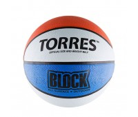 Мяч баск. TORRES Block р. 7 резина, бело-сине-красный