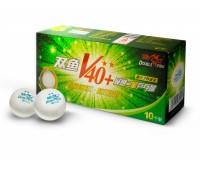шарики для н/т DOUBLE FISH 40+ 2*, 10 мячей в упаковке, белые. Для продвинутых игроков.